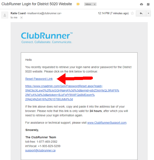Email sample for password reset