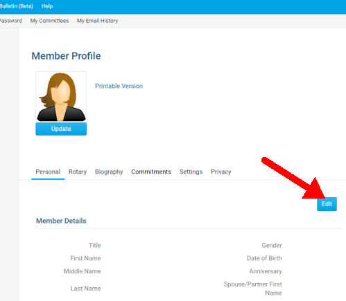 Member Profile screenshot